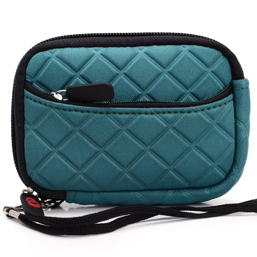 Green Quilted Neoprene Sleeve Carrying Case with Front Zipper Pocket for Nikon Coolpix AW100 Digital Point & Shoot Camera + EnvyDeal Velcro Cable Tie