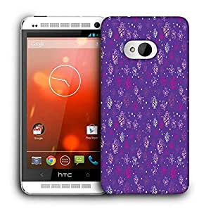 Snoogg Small Butterflies Purple Pattern Printed Protective Phone Back Case Cover For HTC One M7