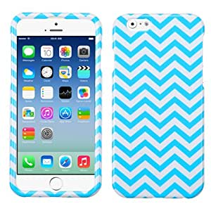 MegaTronic Apple iPhone 6 4.7 inches Hard Plastic Snap On Chevron Protector case cover - Blue Wave W/ Free Stylus