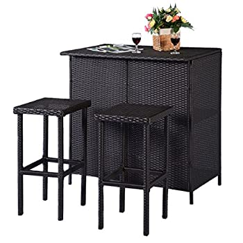 Tangkula 3PCS Rattan Wicker Bar Set Patio Outdoor Table & 2 Stools Furniture