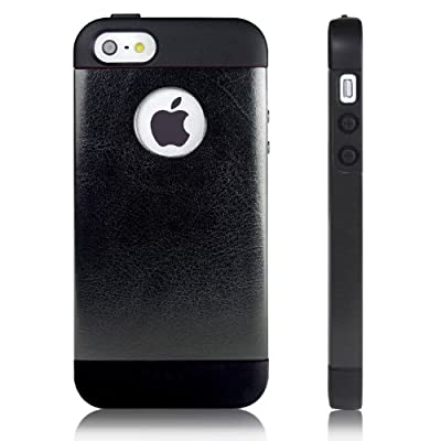iPhone 5 Case, JETech® Luxury iPhone 5 5S Case Bumper Cover 2014 Version for Apple iPhone 5/5S Logo Cut-Out for Verizon, AT&T Sprint, T-mobile, Unlocked (Black) by JETech