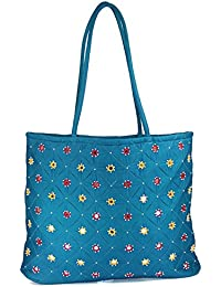 Womens Cottage Blue Cotton Full Patch Work Bag