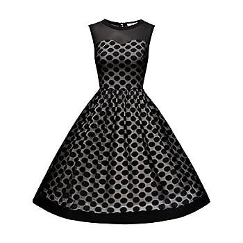 MissMay Women's Classy Polka Dot Crew Neck Pinup Swing A-line Dress