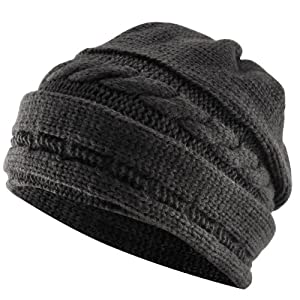 WMA Winter Black Oversized Cable Knit Baggy Beanie Slouch Hat Unisex Fashion