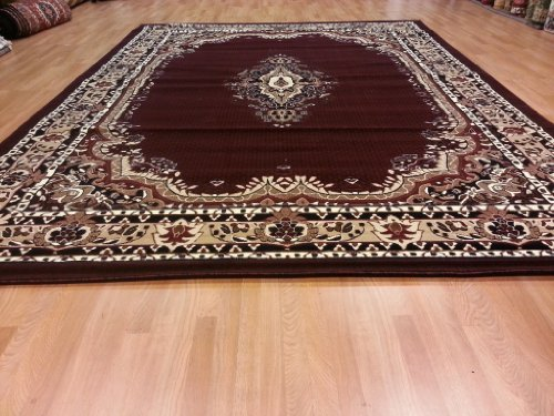 E518 Medallion Traditional Persian Kerman Hand Carved Burgundy Red 5x8 Actual Size 5'3x7'2 Rug