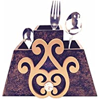 "Pyramid Shape Cutlery Stand With Decorative Golden Motif With Touch Of Bling: Kitchenware - 7.35"" X 4.25"" X 0.6""."