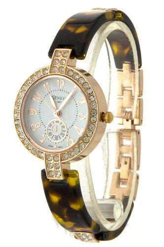 Diva & Duchess Ritzy Rhinstone Encrusted Fashion Watch (Tortoise)