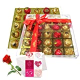 An Affectionate Collection Of Nicely Wrapped Chocolate Box With Love Card And Rose - Chocholik Luxury Chocolates