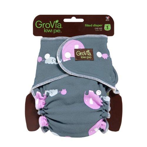 GroVia Kiwi Pie Fitted-Diaper-Girl Elephants - 1