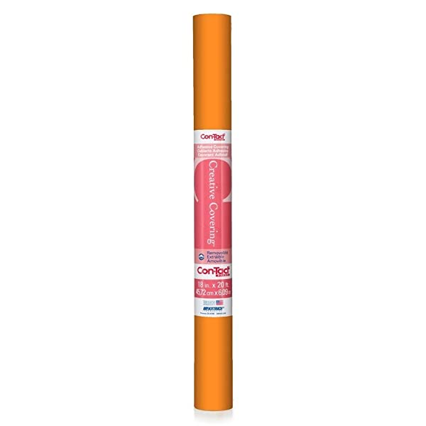 Con-Tact Brand Creative Covering, 20F-C9A1K2-06, Adhesive Vinyl Shelf Liner and Drawer Liner, Orange, 18 x 20' (Color: Orange, Tamaño: 18''x20')