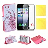 (TRAIT)5in1 Pink Flower PU Leather Wallet Cases Protective Skin Protector Covers for iphone 5 5s Flip Case Folio Cover Stand Holder with Card Port+2*Screen Protector+2*Cleaning Cloth