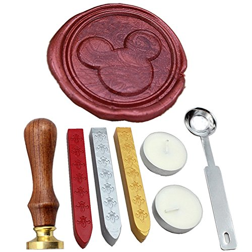 FQL Mickey Vintage Rosewood Wax Seal Stamp Set With Gold Red Silver Sticks (Mickey And The Seal compare prices)