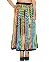 Rajrang Cotton Patch Work Striped Multi Color Casual Skirt