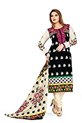 RK Fashion Womens Cotton Un-Stitched Salwar Suit Dupatta Material ( VARIETY-GANPATI-SUPRIYA-213-Black-Free Size)