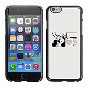 Omega Covers - Snap on Hard Back Case Cover Shell FOR Apple Iphone 6 Plus / 6S Plus ( 5.5 ) - Music Notes Heart Love Girl Pen Art
