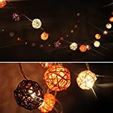 Cmyk Autumn Brown Rattan Ball Patio Party String Lights with 20pcs 1.96-inches Balls 98-inch Long Warm White