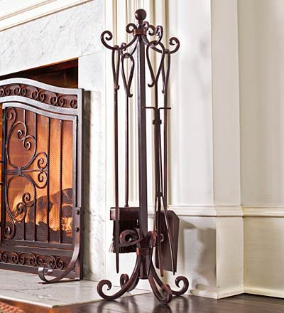 Medallion Solid Steel Fireplace Crest Tool Set