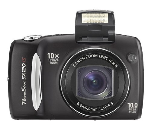 Canon PowerShot SX120 IS - Digital camera - compact - 10.0 Mpix - optical zoom: 10 x - supported memory: MMC, SD, SDHC, MMCplus - black