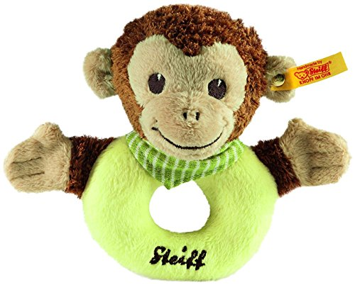 Steiff Jocko Monkey Grip Toy - Brown/Beige/Green
