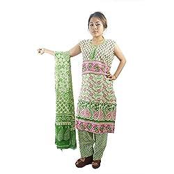 ShopMore Printed Salwar Suit(L,Green)