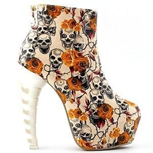 Show Story Skull Zip High-top Bone High Heel Hidden Platform Ankle Boots,LF40603