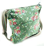 BD12 Green Floral Cross Body Shoulder Slouch Bag With Special Pocket For Your iPad to prevent your ipad from scratching inside your bag.
