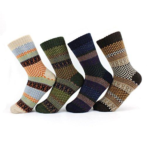 Waymoda Unisex 4 Pairs Vintage Fairisle Pattern Woolen Stocking ...