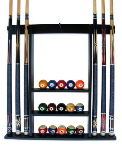 Read About Iszy 6 Pool Cue-Billiard Stick Wall Rack Made of Wood Black Finish