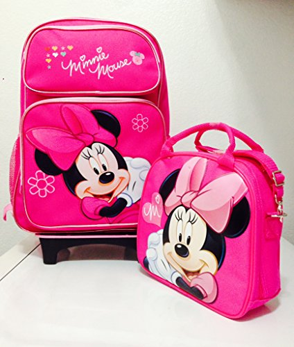 "Disney Minnie Mouse Rolling Backpack With Detachable Wheeled Trolley- 16"" Large Pink & Disney Minnie Mouse Lunch Box Bag With Shoulder Strap And Water Bottle - Pink"