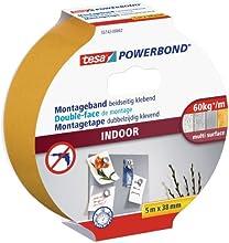 tesa doppelseitiges Montageband Powerbond für Innen, 5m x 38mm