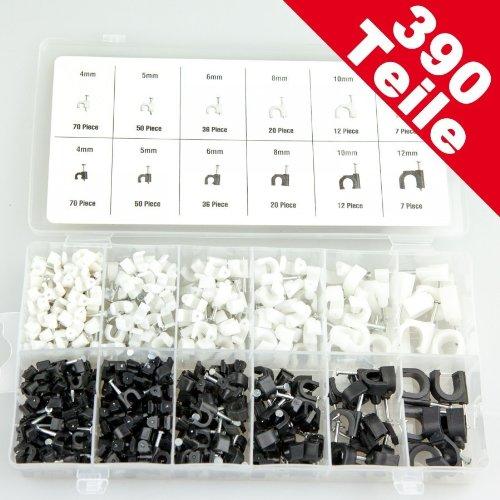 kabelschellen 390tlg sortiment nagelschellen universal kabelklemmen. Black Bedroom Furniture Sets. Home Design Ideas