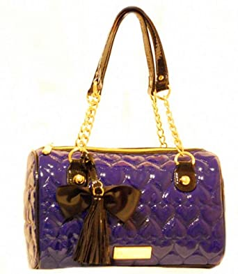 Betsey Johnson Blue Leather Handbag Heart Quilted Cobalt