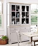 Florence Display Cabinet, Large Truffle Kitchen Dining Dresser with glass doors, shelves and drawers. FULLY ASSEMBLED