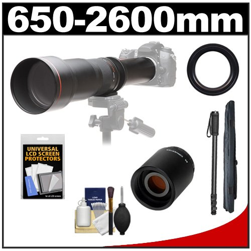 Vivitar 650-1300Mm F/8-16 Telephoto Lens (Black) With 2X Teleconverter (=2600Mm) + Monopod + Accessory Kit For Digital Slr Cameras