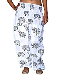 Famacart women Elephant Printed Trouser pants Ladies Harem Alladin White