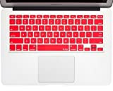 """Kuzy - RED Keyboard Cover Silicone Skin for MacBook Pro 13"""" 15"""" 17"""" (with or w/out Retina Display) iMac and MacBook Air 13"""" - Red"""