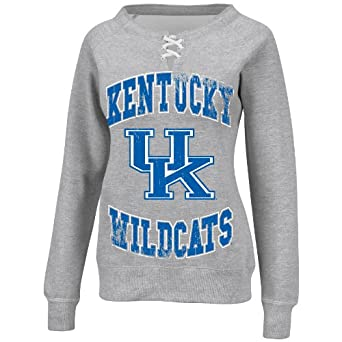 NCAA Ladies Kentucky Wildcats Steel Heather Antique White Long Sleeve Raglan Open... by Majestic