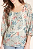 Indigo Collection Cotton Rich Floral Blouse with Silk [T66-9011-S]