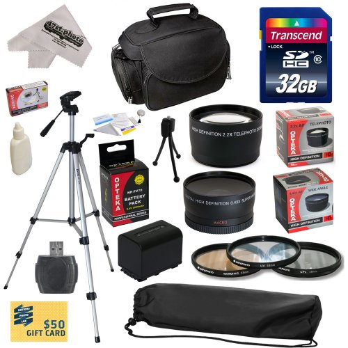 Ultimate Accessory Kit for Sony FDR-AX100 Video Camera Camcorder Includes – 32GB High-Speed SDHC Card + Card Reader + Opteka NP-FV70 2500mAh Ultra High Capacity Li-ion Battery + 3 Piece Pro Filter Kit (UV, CPL, FLD) + 0.43x HD2 Wide Angle Panoramic Macro Fisheye Lens + 2.2x HD2 AF Telephoto Lens + Deluxe Padded Carrying Case + Professional 54″ Tripod + Lens Cleaning Kit including LCD Screen Protectors + $50 Photo Print Gift Card