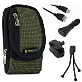 EveCase Travel Kit: Compact Zipper Case, USB Extension Cable (6 Feet), Car Charger, Wall Travel/Home Charger and Black Mini Tripod for Cisco Flip Video UltraHD 3rd Generation(8GB/2 hr); Sony Bloggie MHS-TS20 MHS-TS10 MHS-TS22 MHS-TS55