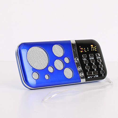 Samshow mini Digital Media Portable Music MP3 Player Micro SD/TF USB Disk Speaker FM Radio(PN-99 Blue)