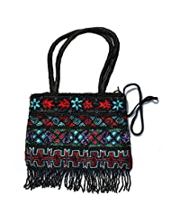 Raun Harman Embroidered Black With Blue Flower Tote Bag