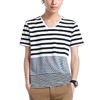(ベストマート)BestMart マリン ボーダー カットソー メンズ 半袖 Tシャツ Vネック 607633