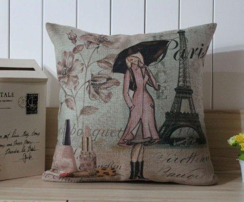 Paris Lady Eiffel Tower Perfume Cushion Cover Pillow Case front-710977