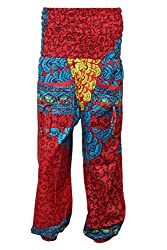 Indiatrendzs Red Harem Pants Women's Hip Hop Red Printed Pants