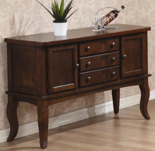 Cheap Server Sideboard with Cabriole Legs in Medium Brown Oak Finish (VF_102145)