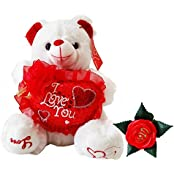 "2 Piece Unique Gifts For Mom Quality 9"" Assorted Embellished Plush White Musical Teddy Bear Holding Heart ""The..."