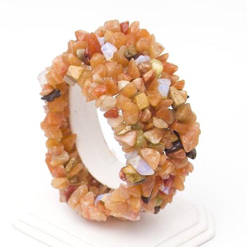 Cute Stretchy Peach Aventurine with Mixed Quartz Web Chip Bracelet