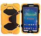 Epie Store(TM) Duty Rugged Impact Hybrid Case &Hard Plastic & Rubber Shockproof Fingerprint Dust-proof scratches-proof Case with Build in Kickstand Protective for Samsung Tablet Galaxy Tab 3 7.0-inch P3200 with free screen (z- Kickstand orange)