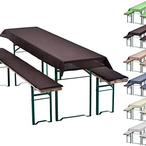 Bierbankauflagen-Set-Uni-Braun-Tischdecke-240-x-90-cm-fr-220-x-70-cm-Tische-2-gepolsterte-Bankauflagen-220-x-25-cm-fr-Bierzeltgarnituren-Farbwahl-Grenwahl